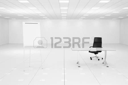 Camera bianca ufficio con lavagna a fogli mobili e sedia nera photo