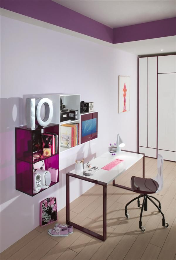 minimalist desk and hanging cabinet with purple accent in girls bedroom  trendy chic interior design purple teen bedroom design girly bedroom. 17 Best ideas about Purple Teen Bedrooms on Pinterest   Lavender