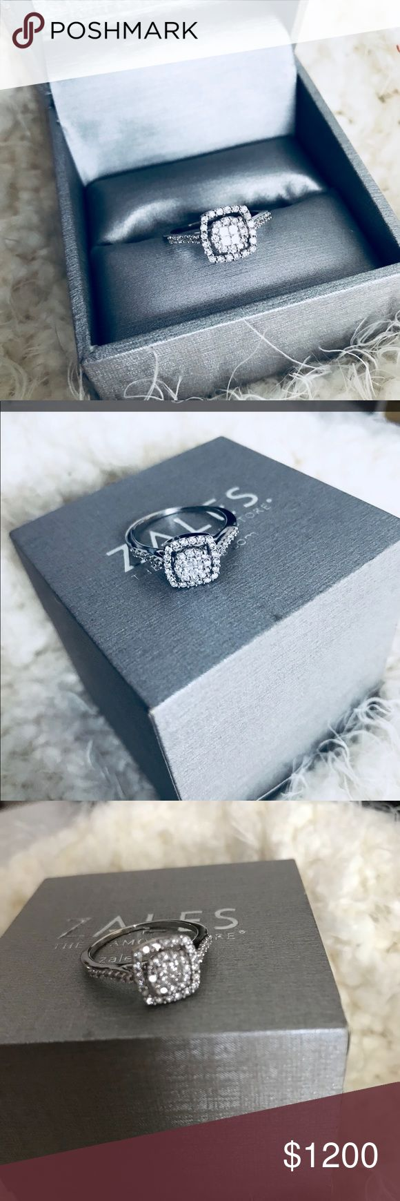White Gold 10k 1/2ct Diamond Engagement Ring White Gold 10k 1/2ct Princess Cut Cluster Diamond Engagement Ring! Barely worn, Excellent Condition! Like Brand New from Zales. Can easily be re-sized at a Jewelry stores or Zales. Zales Jewelry Rings