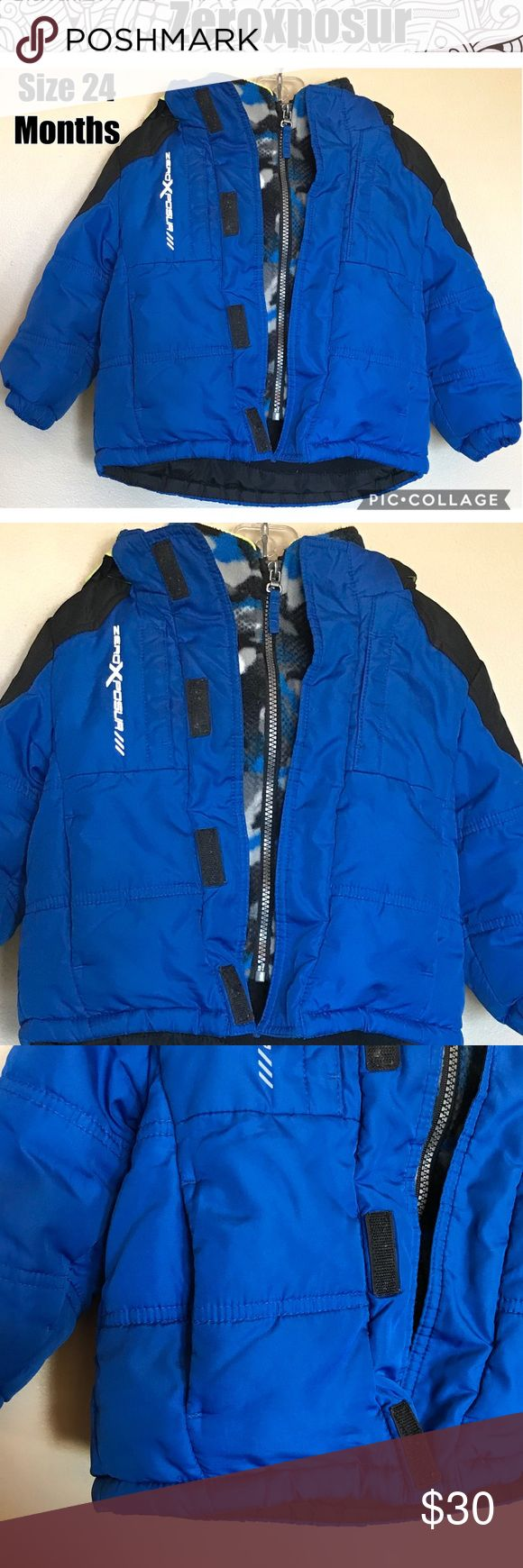 Zeroxposur Boys Winter Coat Size 24 Months One zipper and Velcro close, no separate inside pieces that can be hard at this age. Nice and warm! Hood can be removed. ZeroXposur Jackets & Coats