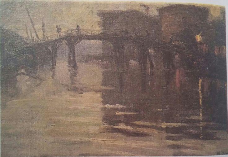 Nazmi Ziya: Köprü. Tuval uzerine yagliboya. 31×44 cm. Ozel koleksiyon