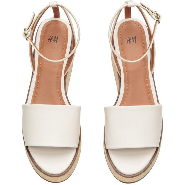 Platform Sandals $34.99 (£28) ❤ liked on Polyvore featuring shoes, sandals, flats, zapatos, sapatos, ankle wrap sandals, ankle strap flats, white platform sandals, wooden platform sandals and platform flats