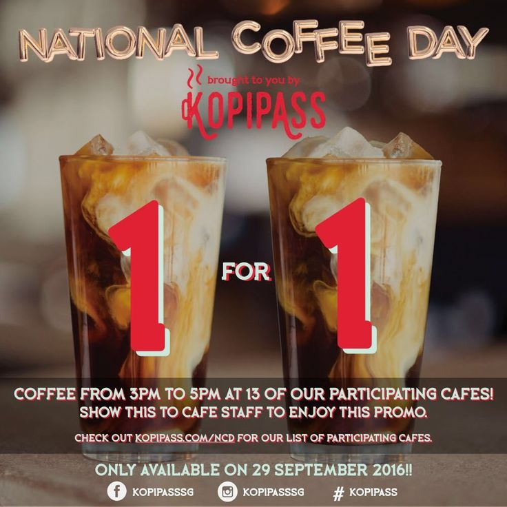 National Coffee Day 2016 | 1 for 1 coffee | Cafes Singapore