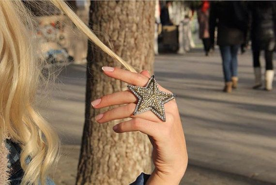 Star Ring-Unique Bohemian Rings-Galaxy Ring-Big Large Ring-Stone Rings-Star Ring Jewelry-White Crystal Rings-Dainty Ring-Boho Tribal Rings