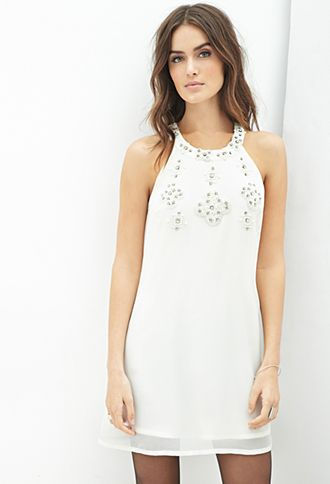 Shared Via Just Sales: Final SaleLove 21 - Look as ladylike as ever whenever you wear this dress! Cut in a woven fabric that's embellished at the neckline with faux pearls, iridescent beads, and rhinestones, this piece is supremely sophisticated. Luckily, its sleeveless constru