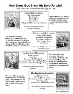 Rosary Reference Sheet for Children Catholic Lesson Plans, Classroom Resources | Catholic Teacher Resources | Thatresourcesite.Com