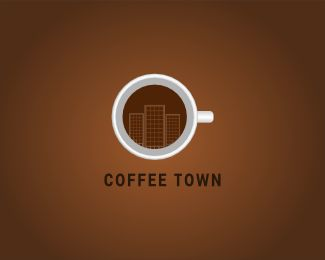 Coffee Town Logo design - Suitable for restaurant and cafe.<br />clean and flat logo.<br />cup of a coffee with mirage of town. Price $250.00