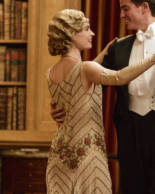 Lily James as Lady Rose Aldridge in Downton Abbey (Series 5 Christmas Special, 2014).