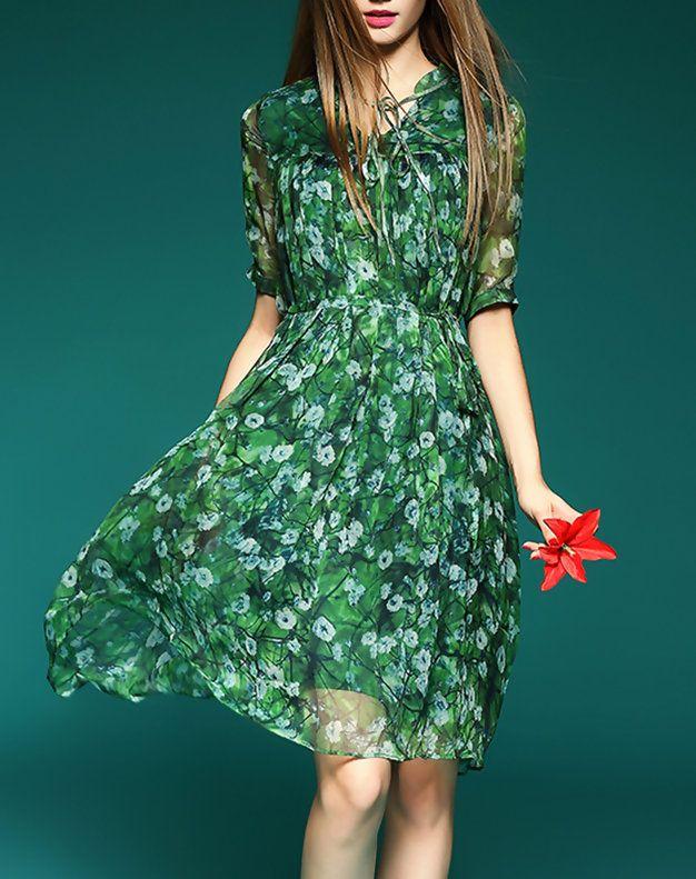 Green Silk Floral Half Sleeve Pleated Mini Dress