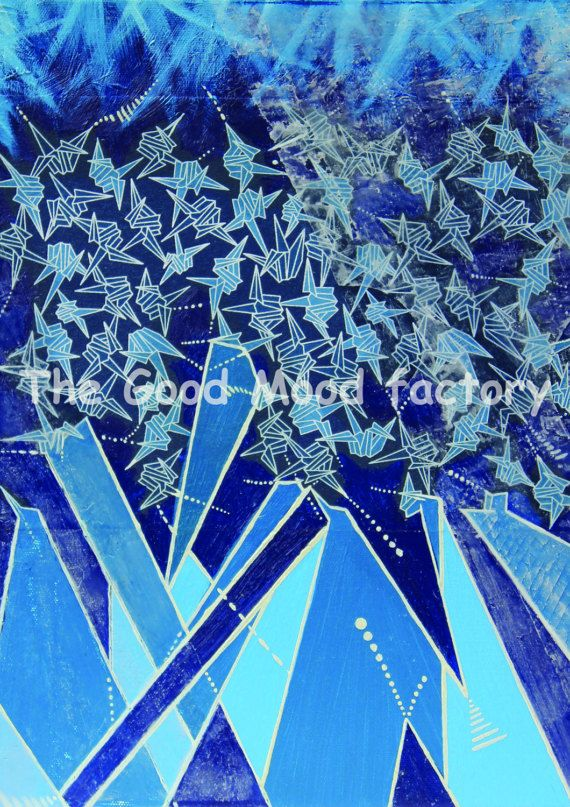 The Good Mood Factory_ Blue Pattern origami_ Art print Copy on paper of original