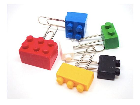 Miniature Lego Paperclips in Polymer clay by SmallIdea on Etsy