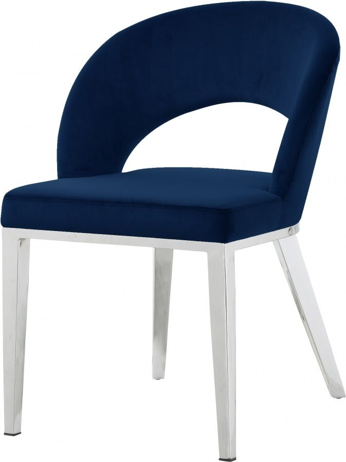 Blue Velvet Modern Rounded Back Accent Dining Chair Silver Legs Velvet Dining Chairs White Dining Chairs Velvet Furniture
