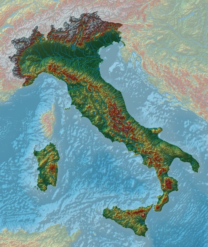 Elevation map of Italy 438 best Maps