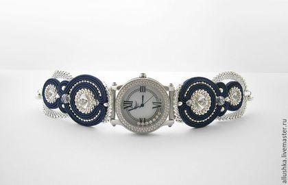 Часы ручной работы. Ярмарка Мастеров - ручная работа. Купить Часы на сутажном браслете. Handmade. Темно-синий, сутажный браслет