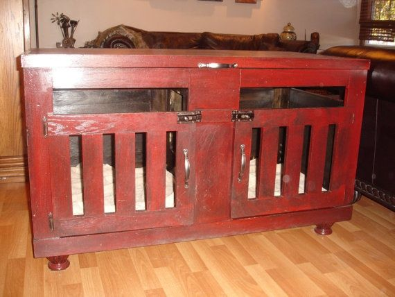 designer dog crate furniture ruffhaus luxury wooden. Items Similar To Double Wooden Dog Crate In Aged Red Porcelain Finish, Built For Two On Etsy Designer Furniture Ruffhaus Luxury