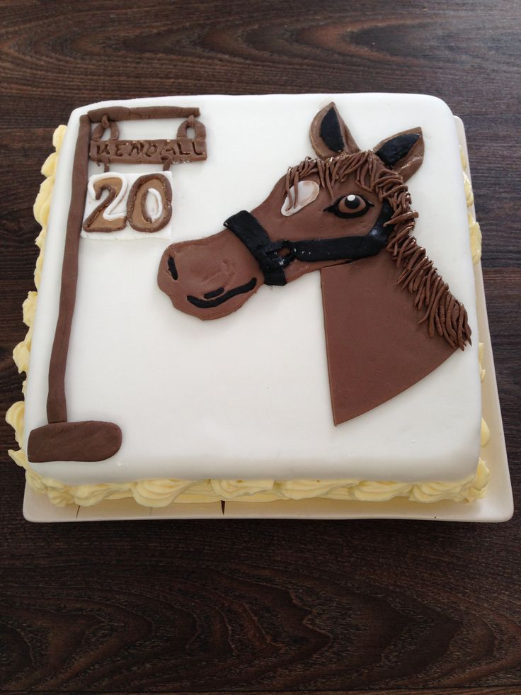 Carrot cake with a horse themed cover