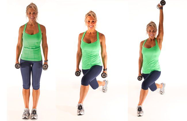Reverse lateral lunge - Dumbbell exercises - IMAGE - Women's Health & Fitness
