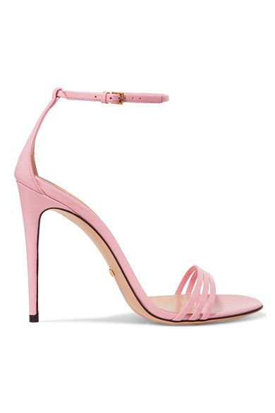 Heel measures approximately 110mm/ 4.5 inches Baby-pink patent-leather Buckle-fastening ankle strap Designer color: Rose Baby Made in Italy