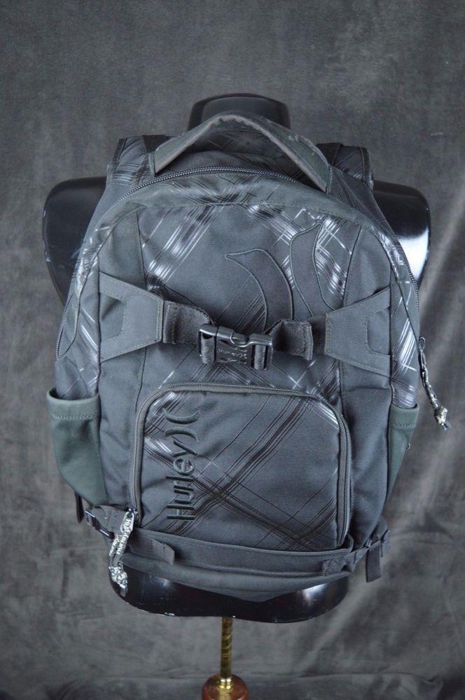Hurley Black Expandable Skater Backpack Day Pack School Book Bag Laptop