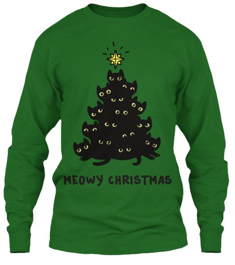 Meowy Christmas Irish Green Long Sleeve T-Shirt Front