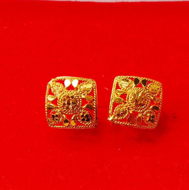New Gold Plated Earrings yellow hoop stud Indian Bollywood jewelry u 51
