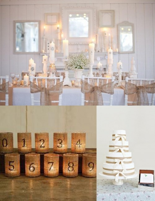 Burlap table numbers, burlap cake