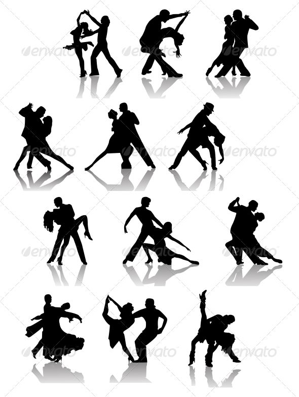 Set of Silhouettes of Dancing Couple .   #GraphicRiver