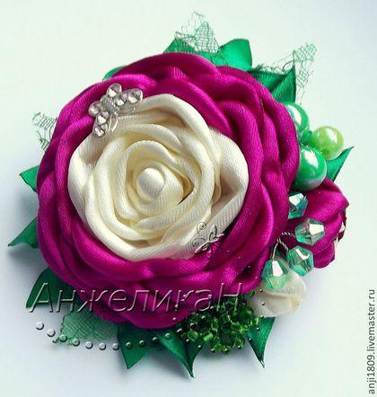 """Резиночки для волос и брошь """"Чудные розы"""" - резиночки для волос,резинка с цветком"""