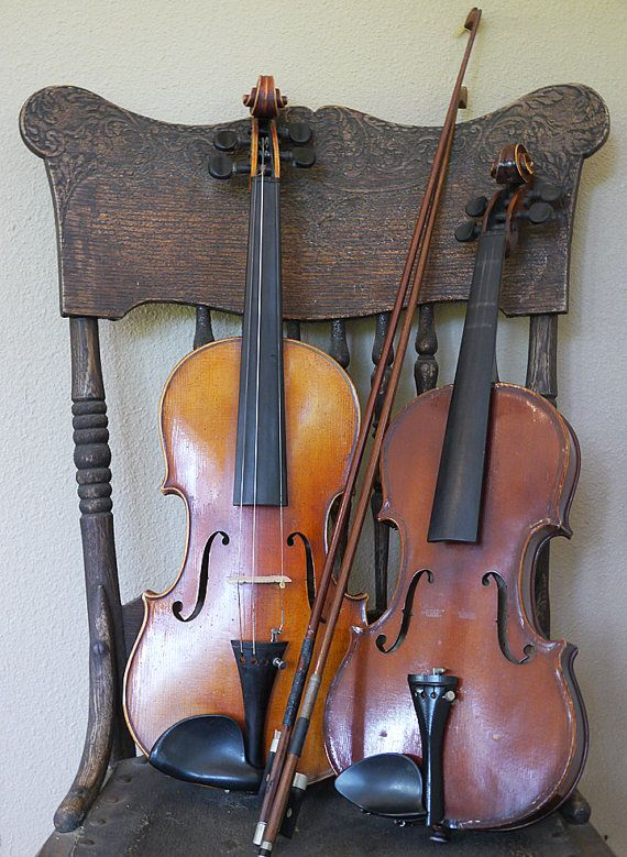 2 Antique Violins with Cases and Bows Antonio by LEXIBAGS on Etsy,