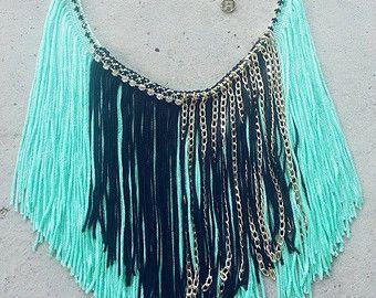 Fringe Necklace, Modern Bohemian, Mint Necklace, Long Fringe Necklace, Gold Fringe Necklace, Fan Fringe Necklace, Beach Necklace, Boho Chic