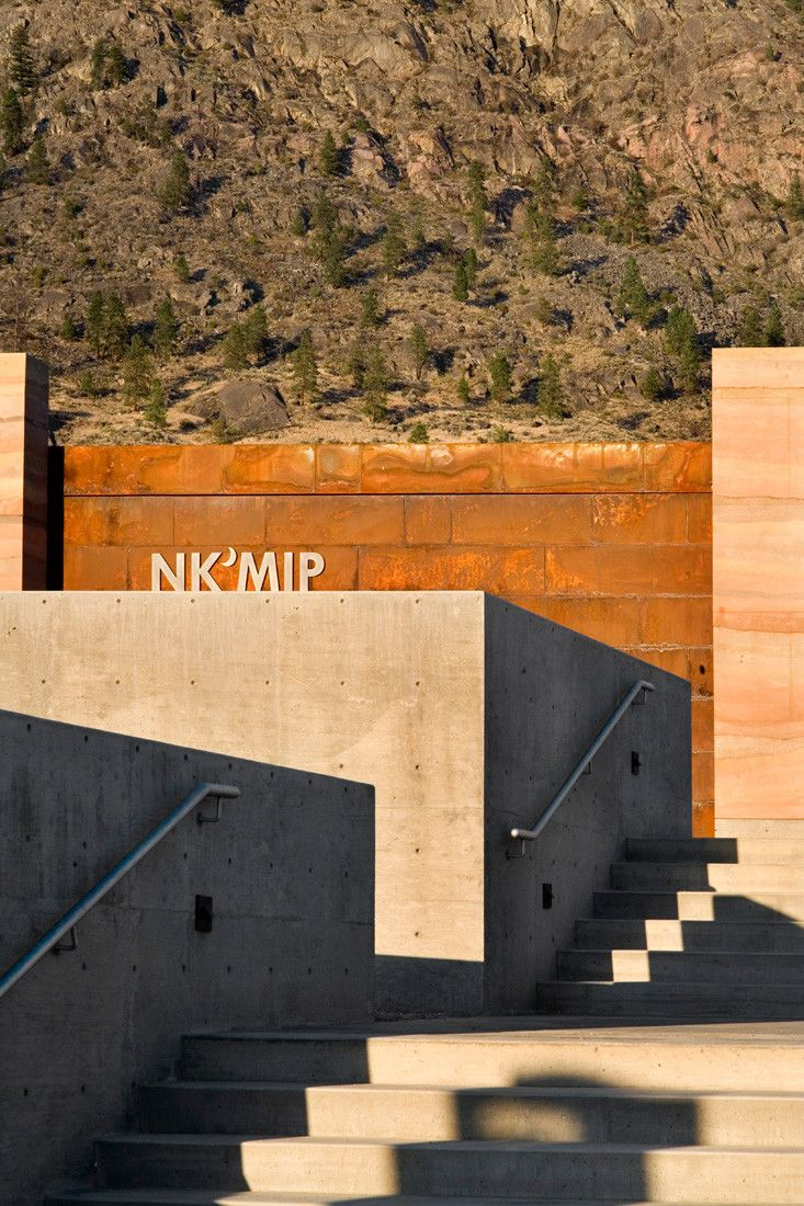 A unique perspective on this SIREWALL project, showing three prominent building materials: concrete, steel and SIREWALL | Gallery of Nk'Mip Desert Cultural Centre - HBBH Architects