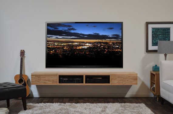 Floating media stand contemporary blonde tv cabinet mayan natural on etsy great for Floating tv stand living room furniture
