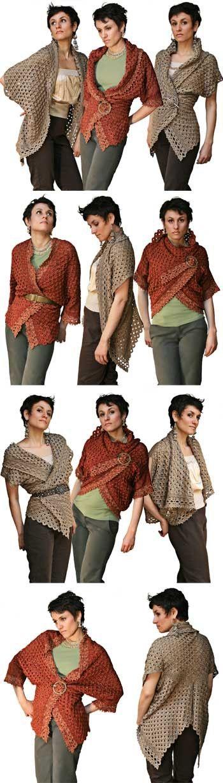 Different ways to wear your crochet Cardigan Wrap = Crochet by Okapii