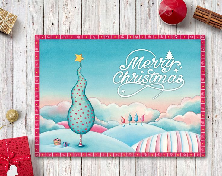 Christmas Card Printable, Merry Christmas Card, Holiday Card, Watercolor Christmas Card, Winter Landscape Xmas Tree, Digital Christmas Cards by NopiArtStudio on Etsy