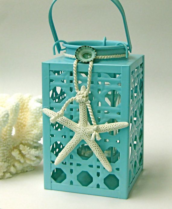 Beach Decor   Aqua Lantern with Starfish by SeashellCollection, $35.00