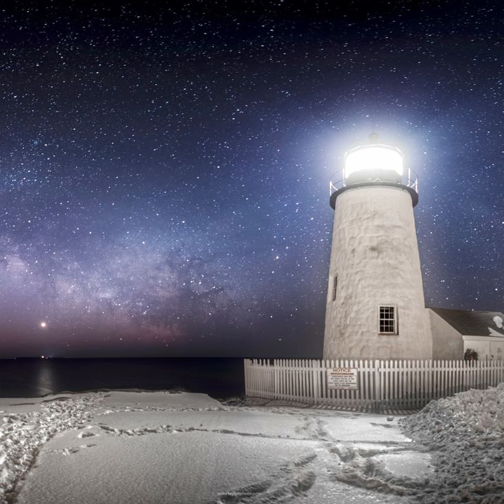 • Galactic Beacon • The late winter Milky Way arcs across the sky accompanied by Venus reflecting in the Atlantic Ocean at Pemaquid Point Lighthouse in Bristol, Maine. The small light on the horizon under Venus is the lighthouse on Monhegan Island which is 12 miles off the coast. Taylor Photography