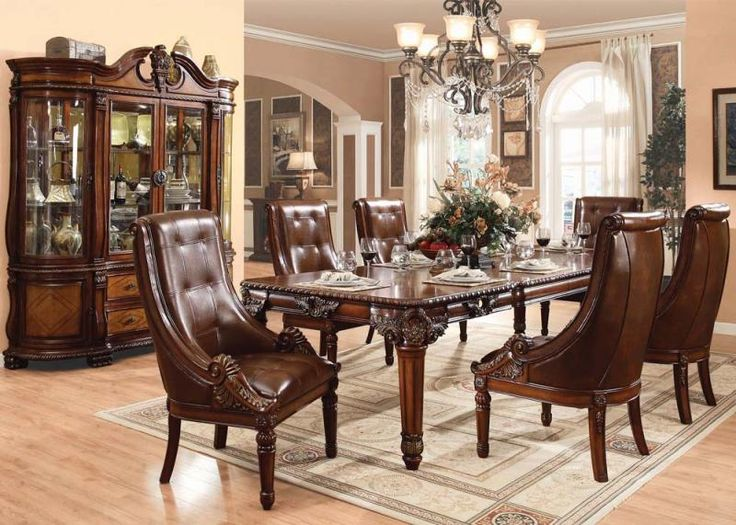Winfred Cherry Wood Leather Like Fabric Dining Room Set
