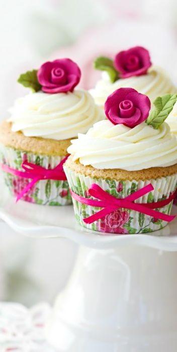 Cupcakes con rosa