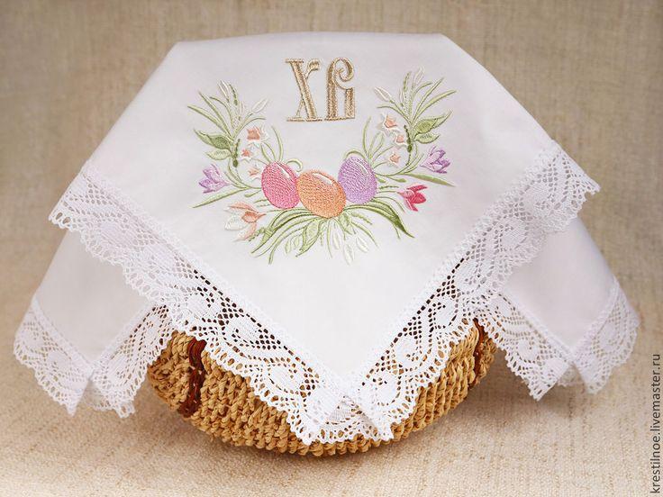 Купить Кружевная салфетка Пасхальный букет - пасхальная салфетка, салфетка на пасху, кружевная салфетка