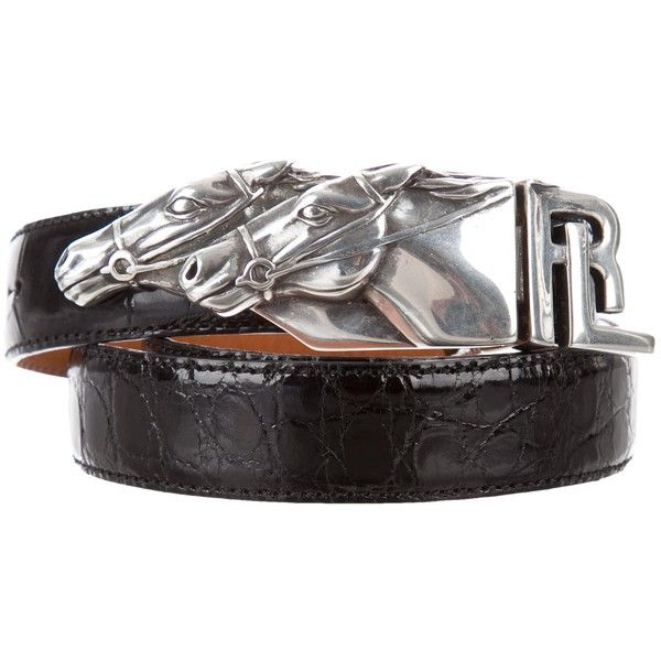 Pre-owned Ralph Lauren Alligator Buckle Belt ($375) ❤ liked on Polyvore featuring accessories, belts, black, ralph lauren belt, buckle belt, ralph lauren, sterling silver belt and alligator belt