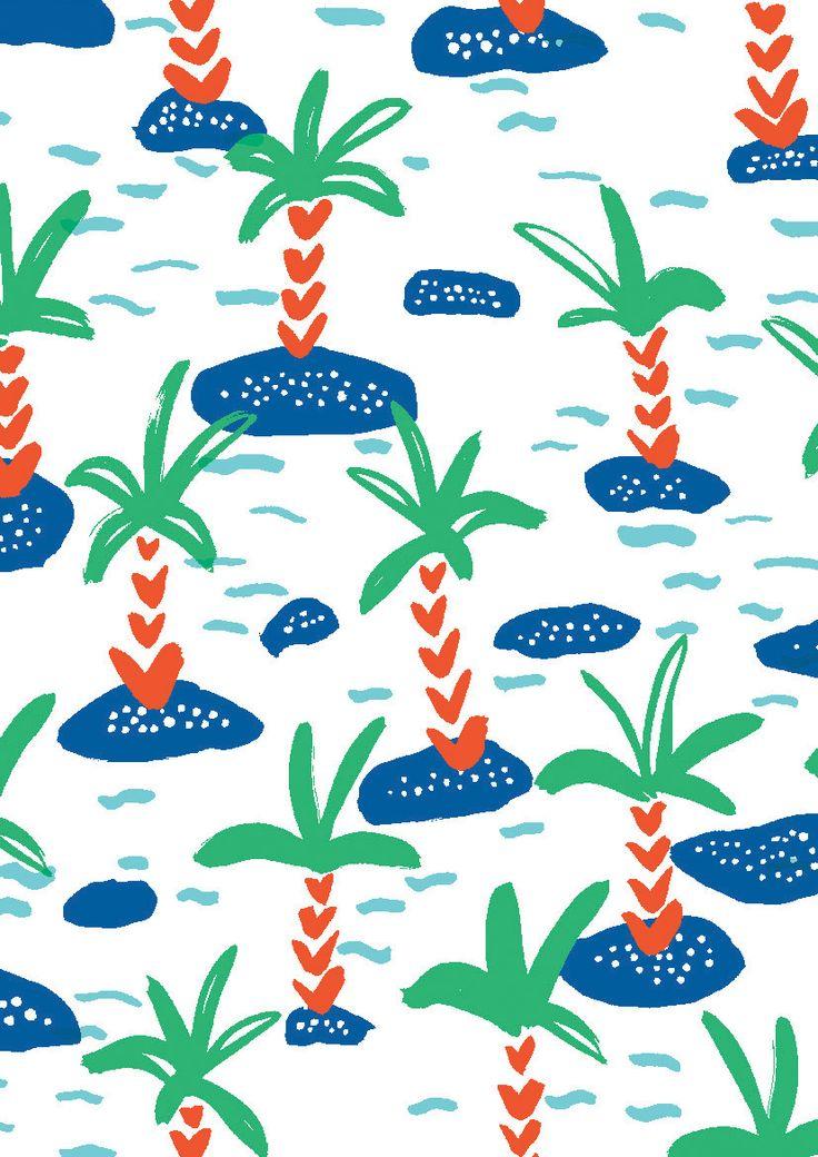 pattern by Minakani #palmtree #island #wave #minakani