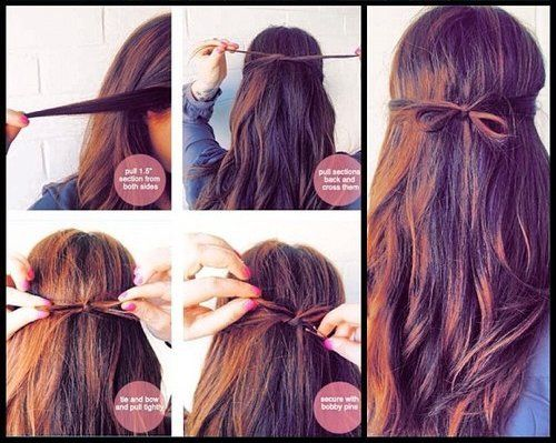 tuto coiffure simple et rapide hairstyle bow pinterest. Black Bedroom Furniture Sets. Home Design Ideas