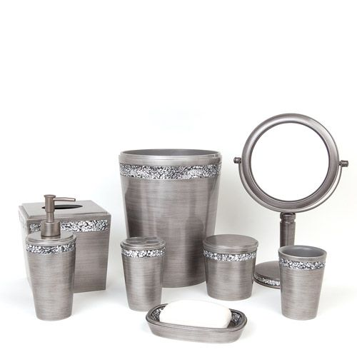 Silver bathroom accessories bathroom pinterest for Silver bathroom set
