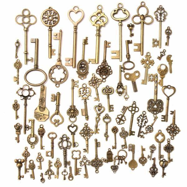 69 Various Antique VTG Old Look Skeleton Keys Vintage Bronze Charm Pendants Set