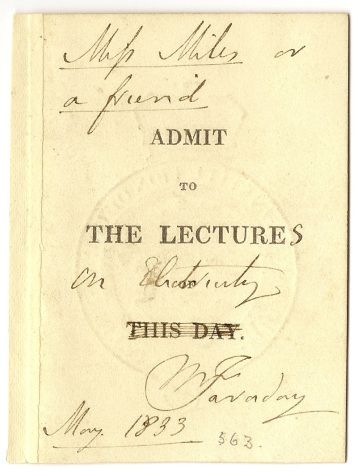 Faraday Ticket - This Day in History: Aug 29,1831: Michael Faraday discovers electromagnetic induction.