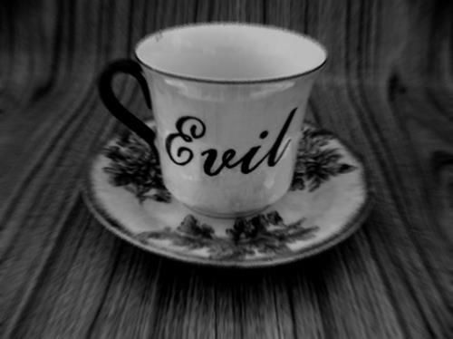 A little cup of evil.    Love this post on Facebook by World Goth Day.