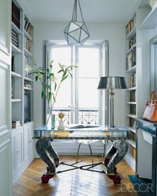narrow office space can be idea-expanding...with elements which visually soar & cascading light...