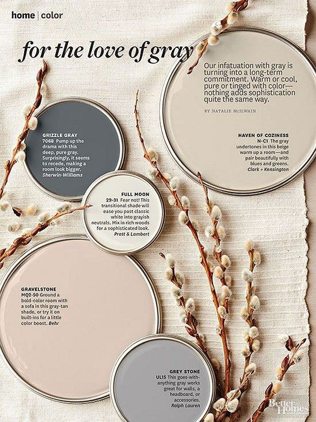 Better Homes and Gardens Paint Colors. Get the paint color names, plus tips and tricks for decorating with color. Gravelstone by Behr, Full Moon by Pratt and Lambert, Grizzle Gray SW 7068 Sherwin Williams, Haven of Coziness Clark + Kensington. #paintColor #Gray
