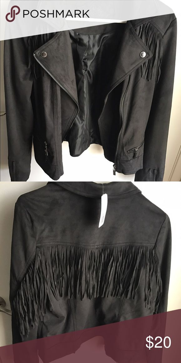 Fringe suede jacket Never worn super cute tags still on Jackets & Coats