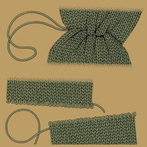 Kürzen und Verlängern eines Pullovers.    Will man einen kurzen Pullover länger machen, so muß man lediglich einige Reihen mehr stricken, am besten, bevor man mit den Armausschnitten beginnt.   Was aber ist zu tun, wenn die Teile bereits fertig sind und Sich erst dann herausstellt, daß der ganze Pullover oder nur die Ärmel zu kurz sind?
